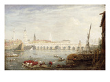 The Monument and London Bridge, C.1820-80 (Oil on Panel) Giclee Print by Frederick Nash
