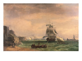 Men-O'-War and Small Craft at Portsmouth Harbour, Late 18th or Early 19th Century Premium Giclee Print by Thomas Whitcombe