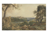 Castle Above a River, Woodcutters in the Foreground (W/C on Paper) Giclee Print by Peter De Wint