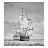 English Line-Of-Battle Ship, 18th Century Giclee Print by Charles Brooking