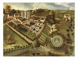The House and Garden of Llanerch Hall, Denbighshire, c.1662-72 Giclée-Druck von  English