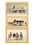 A Dame Blanche Carriage, an Omnibus and Drivers, 1815-30 (Gouache on Paper) Giclée-Druck von Pierre Antoine Lesueur