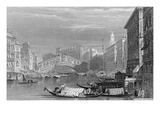 The Rialto Bridge, Venice, Engraved by Edward Finden, C.1830 (Engraving) Giclee Print by Samuel Prout