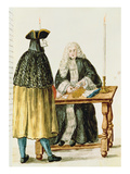 A Magistrate Playing Cards with a Masked Man (W/C on Paper) Giclee Print by Jan van Grevenbroeck