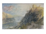 Rheinfels Looking to Katz and Gourhausen, 1817 (W/C and Gouache on Paper) Giclee Print by Joseph Mallord William Turner