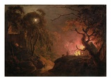 A Cottage on Fire at Night, c.1785-93 Giclee Print by Joseph Wright Of Derby