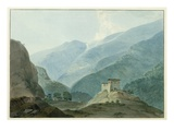 Chukha Casle in Bhutan, 1783 (W/C over Graphite on Paper) Giclee Print by Samuel Davis