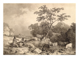 Figures by a Stream with Cattle Watering (Grey Washes over Pencil on Laid Paper) Giclee Print by Philip James Loutherbourg