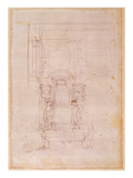 Preparatory Drawing for the Tomb of Pope Julius Ii (1453-1513) (Charcoal on Paper) (Verso) Giclee Print by  Michelangelo Buonarroti