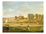 The Old Parish Church and Village, Hampton-On-Thames, Middlesex (Oil on Panel) Premium Giclee Print by  English