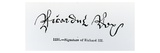 Signature of Richard Iii (1452-85) (B/W Photo) Giclee Print by  English