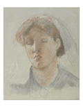 The Artist's Wife, Emma, on Her Wedding Day (Coloured Chalks on Paper) Giclee Print by Ford Madox Brown