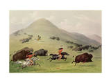 The Buffalo Hunt, C.1832 (Coloured Engraving) Giclee Print by George Catlin