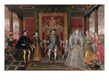 An Allegory of the Tudor Succession: the Family of Henry Viii, C.1589-95 (Oil on Panel) Giclee Print by  English