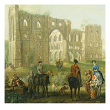 Riders Pausing by the Ruins of Rievaulx Abbey, c.1740-50 Giclee Print by John Wootton