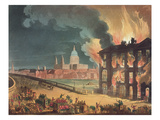 Fire at Albion Mill, Blackfriars Bridge, from Ackermann's 'Microcosm of London' C.1808-11 Giclee Print by T. Rowlandson