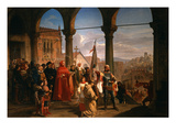 The Dedication of Trieste to Austria (Oil on Canvas) Giclee Print by Cesare Felix Dell&#39; Acqua