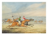 Steeplechasing: Three Riders Galloping to Right, Mounted Spectators in Background Giclee Print by Henry Thomas Alken