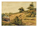 Landscape with Train, 1854 (W/C and Pencil on Paper) Giclee Print by Edward W. Fitch