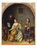 The Bass Viol Lesson Giclee Print by Caspar Netscher