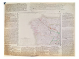 Map of Galicia with the Route of the French Army and a Log, from the Campaign in January, 1809 Giclee Print by  French