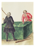 Two Venetian Noblemen Playing Billiards (Pen and Ink and W/C on Paper) Reproduction proc&#233;d&#233; gicl&#233;e par Jan van Grevenbroeck