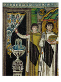Courtiers by a Fountain (Mosaic) Reproduction procédé giclée par  Byzantine