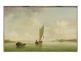 A Smack under Sail in a Light Breeze in a River, c.1756-9 Giclee Print by Charles Brooking