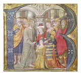 Historiated Initial 'B' Depicting Christ Healing a Possessed Man (Vellum) Giclee Print by  Italian