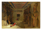 The Hypostyle Hall of the Great Temple at Abu Simbel, Egypt, 1849 (Oil on Panel) Giclee Print by David Roberts