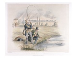 Jack Fishing, Lea Bridge, from a Set of Six Images of 'Angling' (Hand-Coloured Litho) Giclee Print by Henry Heath