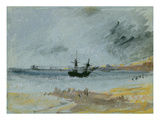 Ship Aground, Brighton, 1830 (Black Ink, W/C and Bodycolour on Paper) Gicleetryck av J. M. W. Turner