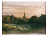 Stoke Poges Church (Oil on Panel) (Recto of 261372) Giclée-tryk af Thomas Churchyard