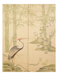 Bamboo and Crane, Edo Period (W/C on Panel) Premium Giclee Print by  Japanese