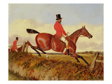 Foxhunting: Clearing a Bank, C.1840 (Oil on Board) Giclee Print by John Dalby
