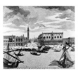 View of St. Mark's Square from the Lagoon, Venice (Engraving) Giclee Print by Francesco Zucchi