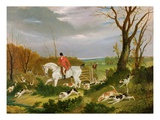 The Suffolk Hunt - Going to Cover Near Herringswell (Oil on Canvas) Giclee Print by John Frederick Herring Snr