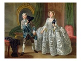 David Garrick and Mrs Pritchard in 'The Suspicious Husband' by Benjamin Hoadley (1676-1761) 1747 Giclee Print by Francis Hayman