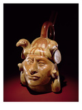 Pottery Portrait Vessel, Mochica (Earthenware and Paint) Giclee Print by  Peruvian