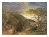 The Lonely Tower, 1868 (W/C and Bodycolour and Gum Arabic on London Board) Giclee Print by Samuel Palmer