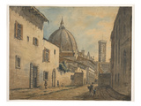 A Street in Florence with the Duomo and Campanile in the Background Giclee Print by William Marlow