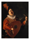 Young Man with a Lute Giclée-tryk af Bartolomeo Manfredi