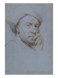 Self Portrait (Black, Red and White Chalk on Blue Paper) Giclee Print by Jonathan Richardson