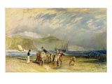 Folkestone Harbour and Coast to Devon, C.1830 (W/C and Gouache on Paper) Giclee Print by J. M. W. Turner