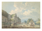 The Tithe Barn at Abbotsbury with the Abbey on the Hill..., C.1795 (W/C over Graphite on Paper) Giclee Print by Thomas Girtin