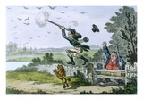Cockney Sportsmen: Shooting Flying, Engraved by James Gillray (1757-1815) 1800 Giclee Print by Isaac Cruikshank