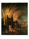The Great Fire of London (September 1666) with Ludgate and Old St Paul's, C.1670 (Oil on Canvas) Giclee Print by  English