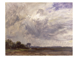 Landscape with Grey Windy Sky, C.1821-30 (Oil on Paper Laid Down on Millboard) Giclee Print by John Constable