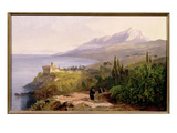 Mount Athos and the Monastery of Stavroniketes, 1857 Giclee Print by Edward Lear