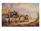 Mail Coaches on the Road: 'Quicksilver' Devonport-London Royal Mail About to Start with  New Team Giclee Print by Charles Cooper Henderson